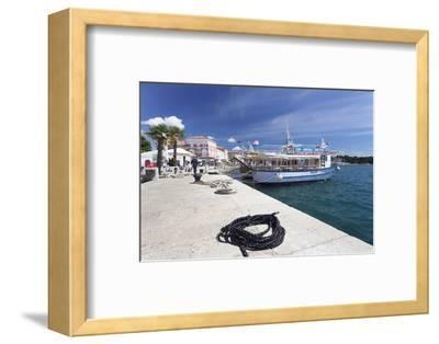 Excursion Boat at the Promenade at the Harbour of Porec, Istra, Croatia, Europe-Markus Lange-Framed Photographic Print