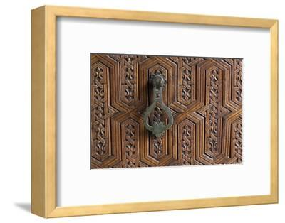 Detail of a Carved Wooden Door in the Musee De Marrakech, Marrakech, Morocco, North Africa, Africa-Martin Child-Framed Photographic Print
