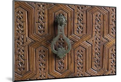Detail of a Carved Wooden Door in the Musee De Marrakech, Marrakech, Morocco, North Africa, Africa-Martin Child-Mounted Photographic Print