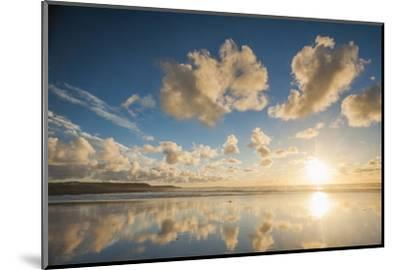 Cloud Reflections at Constantine Bay at Sunset, Cornwall, England, United Kingdom, Europe-Matthew-Mounted Photographic Print