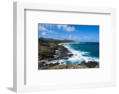 Lookout over Sandy Beach, Oahu, Hawaii, United States of America, Pacific-Michael-Framed Photographic Print