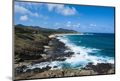 Lookout over Sandy Beach, Oahu, Hawaii, United States of America, Pacific-Michael-Mounted Photographic Print