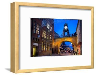 East Gate Clock at Christmas, Chester, Cheshire, England, United Kingdom, Europe-Frank Fell-Framed Photographic Print