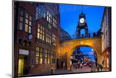 East Gate Clock at Christmas, Chester, Cheshire, England, United Kingdom, Europe-Frank Fell-Mounted Photographic Print