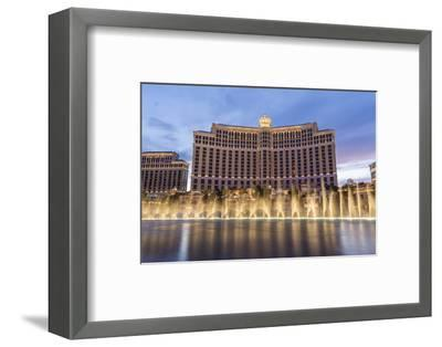 Bellagio at Dusk with Fountains, the Strip, Las Vegas, Nevada, Usa-Eleanor Scriven-Framed Photographic Print