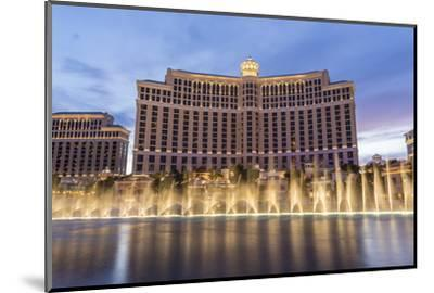 Bellagio at Dusk with Fountains, the Strip, Las Vegas, Nevada, Usa-Eleanor Scriven-Mounted Photographic Print