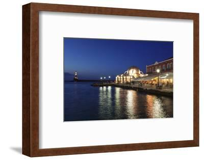 Lighthouse at Venetian Port and Turkish Mosque Hassan Pascha at Night, Chania, Crete-Markus Lange-Framed Photographic Print