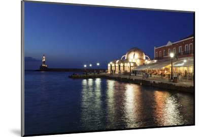 Lighthouse at Venetian Port and Turkish Mosque Hassan Pascha at Night, Chania, Crete-Markus Lange-Mounted Photographic Print