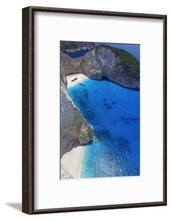 Navagio Beach and Shipwreck at Smugglers Cove on the Coast of Zakynthos-Sakis Papadopoulos-Framed Photographic Print