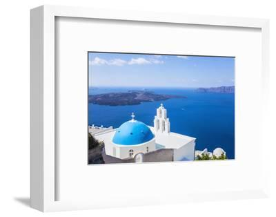 Blue Dome and Bell Tower Above Aegean Sea-Neale Clark-Framed Photographic Print