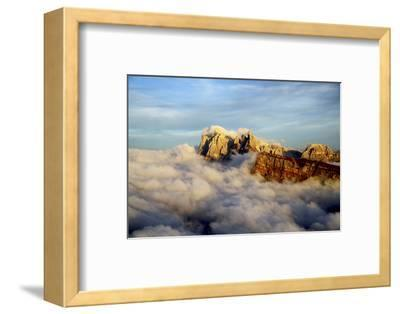 Aerial Shot from Seceda of Odle Surrounded by Clouds at Sunset in the Dolomites-Roberto Moiola-Framed Photographic Print