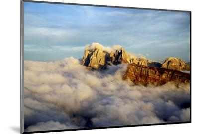 Aerial Shot from Seceda of Odle Surrounded by Clouds at Sunset in the Dolomites-Roberto Moiola-Mounted Photographic Print