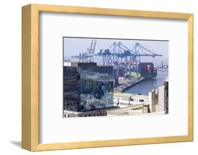 Aerial View of Harbour, Valparaiso, Chile-Peter Groenendijk-Framed Photographic Print
