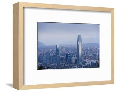 View over the Gran Torre Santiago from Cerro San Cristobal, Santiago, Chile, South America-Yadid Levy-Framed Photographic Print