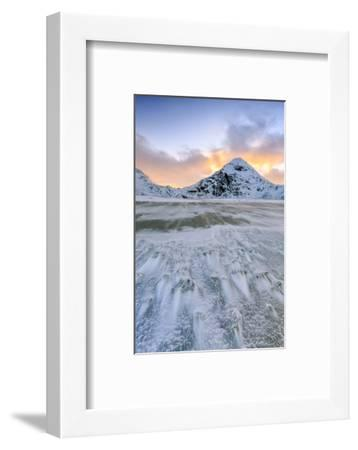 Wave Advances Towards the Shore of the Beach Surrounded by Snowy Peaks at Dawn-Roberto Moiola-Framed Photographic Print