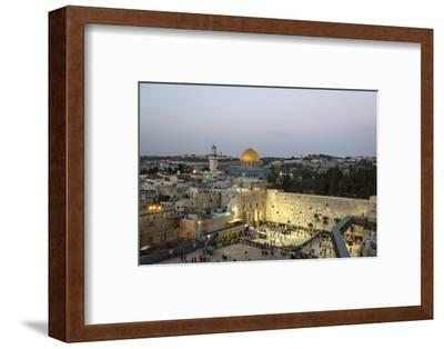 View over the Western Wall (Wailing Wall) and the Dome of the Rock Mosque, Jerusalem, Israel-Yadid Levy-Framed Photographic Print