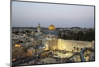 View over the Western Wall (Wailing Wall) and the Dome of the Rock Mosque, Jerusalem, Israel-Yadid Levy-Mounted Photographic Print