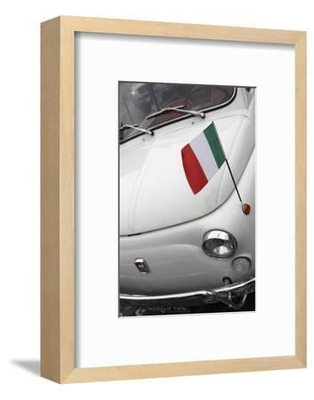 Italian Flag on Fiat 500 Car, Rome, Lazio, Italy, Europe-Stuart Black-Framed Photographic Print