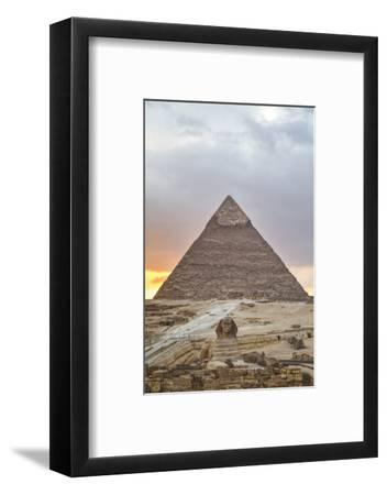 Sunset, Sphinx in Foreground and the Pyramid of Chephren, the Pyramids of Giza-Richard Maschmeyer-Framed Photographic Print