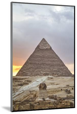 Sunset, Sphinx in Foreground and the Pyramid of Chephren, the Pyramids of Giza-Richard Maschmeyer-Mounted Photographic Print