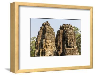 Four-Faced Towers in Prasat Bayon, Angkor Thom, Angkor, Siem Reap, Cambodia-Michael Nolan-Framed Photographic Print