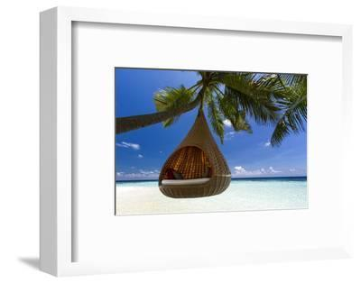 Sofa Hanging on a Tree on the Beach, Maldives, Indian Ocean-Sakis Papadopoulos-Framed Photographic Print