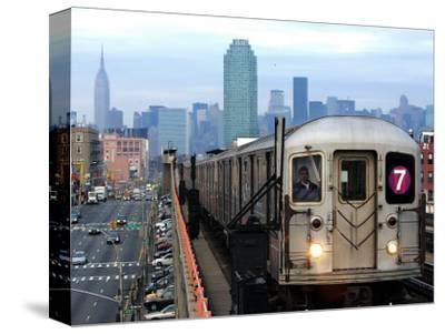 The Number 7 Train Runs Through the Queens Borough of New York--Stretched Canvas Print
