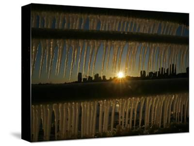 Sun Sets on a Sub Zero Day Behind the Skyline of Milwaukee--Stretched Canvas Print