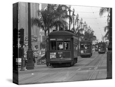 Canal Street Trolleys--Stretched Canvas Print