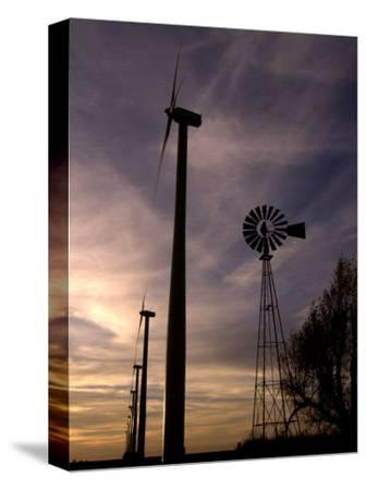 A Row of Wind Turbines-Charlie Riedel-Stretched Canvas Print