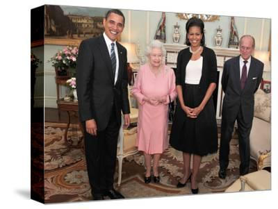President Obama and His Wife Pose with Queen Elizabeth II and Prince Philip, During an Audience at --Stretched Canvas Print
