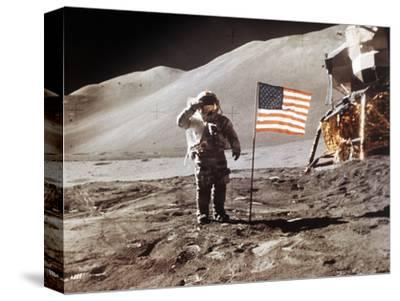 Apollo 15 Moonwalk 1971--Stretched Canvas Print