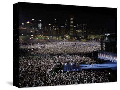 Barack Obama and Family Walk onto the Stage at His Election Night Party at Grant Park in Chicago--Stretched Canvas Print