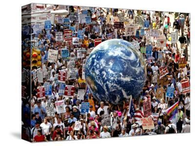 Crowd Fills a Manhattan Avenue During a Protest March in New York--Stretched Canvas Print