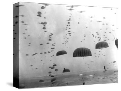 WWII Parachutes over Holland--Stretched Canvas Print