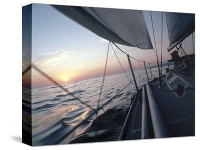 Sailboat-Steve Essig-Stretched Canvas Print