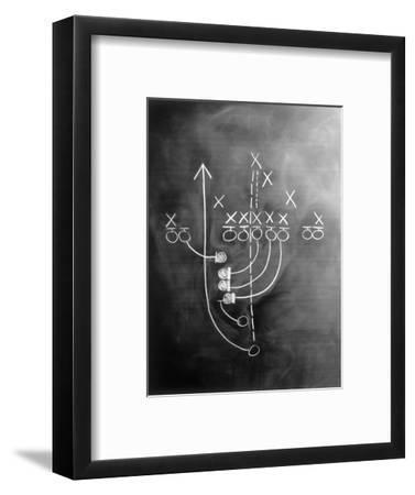 Football Play on Chalkboard-Howard Sokol-Framed Photographic Print