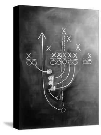 Football Play on Chalkboard-Howard Sokol-Stretched Canvas Print