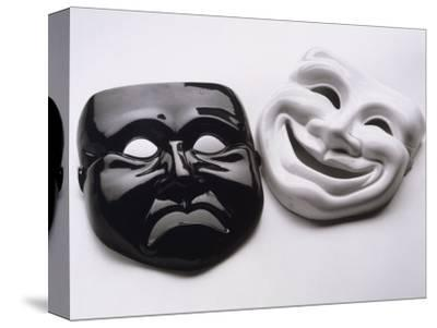 Black and White Image of Ceramic Theater Masks-Howard Sokol-Stretched Canvas Print