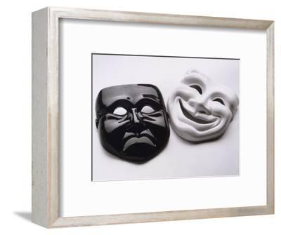 Black and White Image of Ceramic Theater Masks-Howard Sokol-Framed Photographic Print