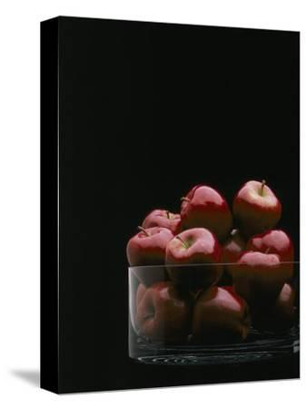 Red Apples in Glass Bowl-Howard Sokol-Stretched Canvas Print