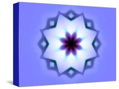 Flower-Like Fractal Design Within Star on Blue Background-Albert Klein-Stretched Canvas Print