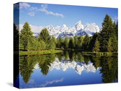 Snow-Capped Teton Range Reflected in Snake River, Wyoming, USA-Mark Hamblin-Stretched Canvas Print