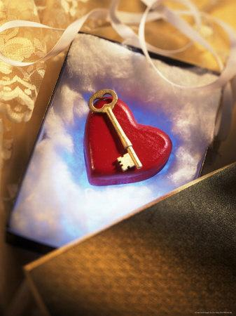 Key on Red Heart in Golden Box with Ribbon-Ellen Kamp-Photographic Print