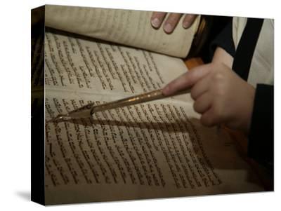 Boy Reading from Torah at Bar Mitzvah-Bill Keefrey-Stretched Canvas Print