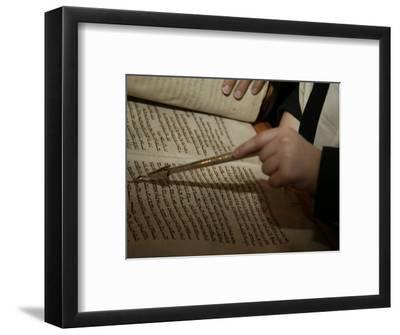 Boy Reading from Torah at Bar Mitzvah-Bill Keefrey-Framed Photographic Print