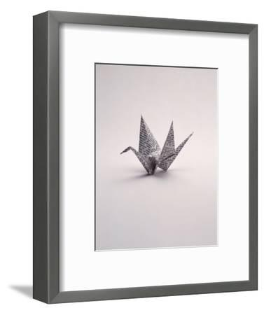 Origami Crane on White-Howard Sokol-Framed Photographic Print