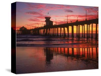 Huntington Beach Pier, CA-Michele Burgess-Stretched Canvas Print