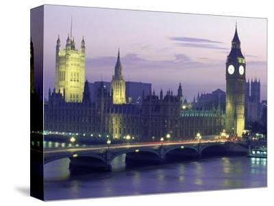 Houses of Parliament at Night, London, England-Walter Bibikow-Stretched Canvas Print