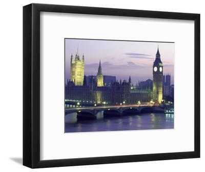 Houses of Parliament at Night, London, England-Walter Bibikow-Framed Photographic Print